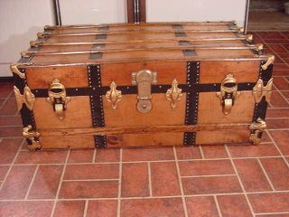 Refinished Flat Top Steamer Trunk Antique Chest With Working Lock And Key photo
