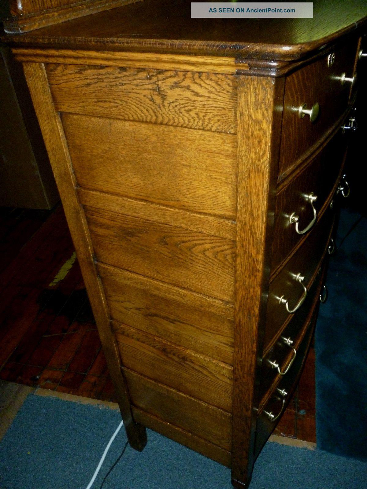 Antique Oak Dresser Bureau W Ornate Framed Beveled Mirror Hardware