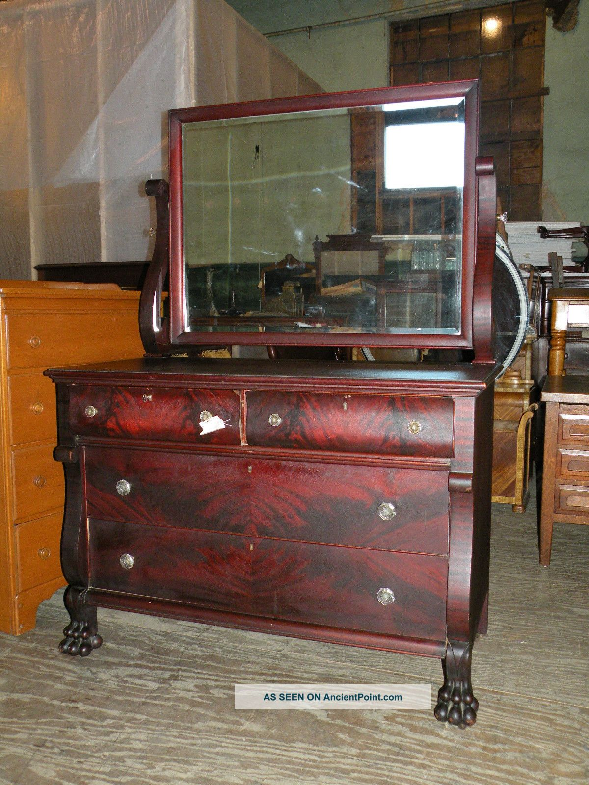 - Antique Flame Mahogany Bedroom Dresser Furniture Empire Style Paw Feet