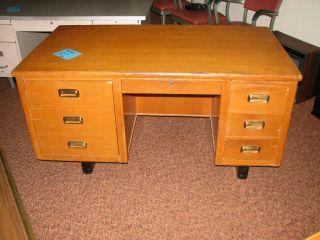 Antique Teacher ' S Oak Desk photo