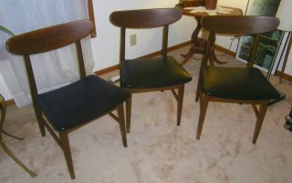 3 Mid Century Modern Madison Furniture Co Canton Ms Danish Style Wood Chairs photo