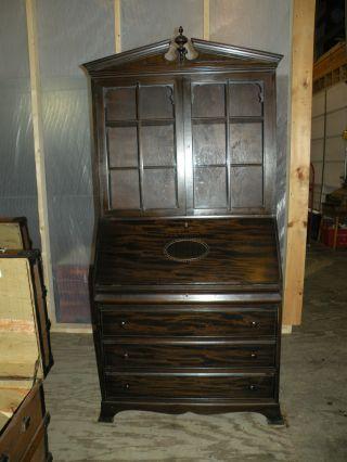 Antique One Piece Drop Front Desk Bookcase Top Secretary Walnut photo