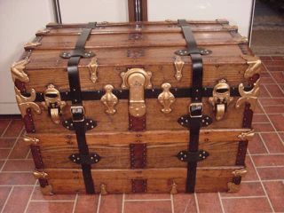 Refinished Flat Top Steamer Trunk Antique Chest With Straps,  Key & Tray photo