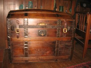 Antique 1800s Stage Coach Chest Steamer Trunk Hump Back Restored Refinished photo