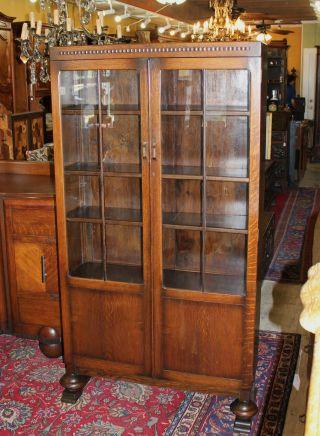 Splendid English Antique Art Deco Bookcase / Cabinet. Made From Oak. Photo