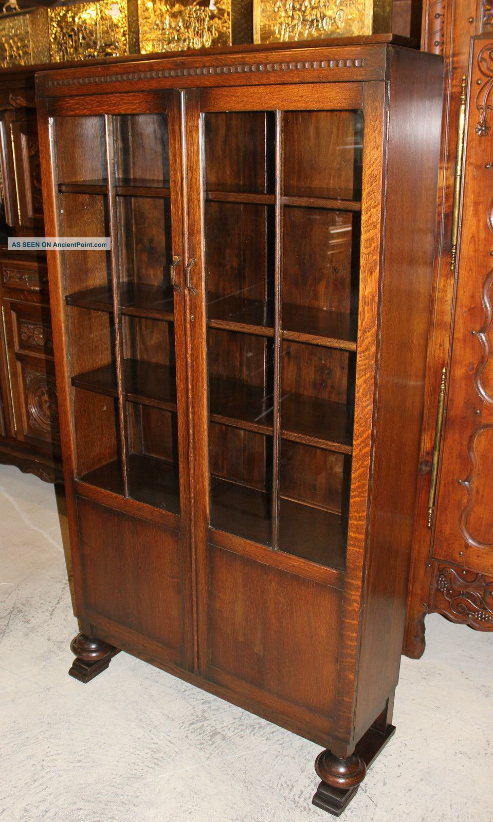 Splendid English Antique Art Deco Bookcase Cabinet Made From Oak