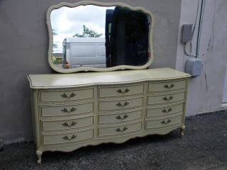 French Painted Triple Dresser With Mirror By Dixie 1484 photo