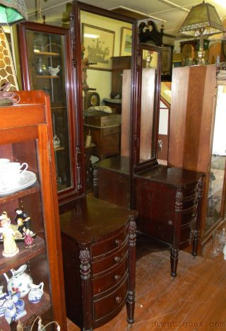 C1930 Solid Mahogany Vanity Dresser Triple Mirror Carved Pineapple Reeded Column photo