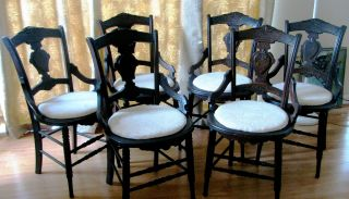 Antique Walnut Victorian - Era Eastlake Dining Chairs photo