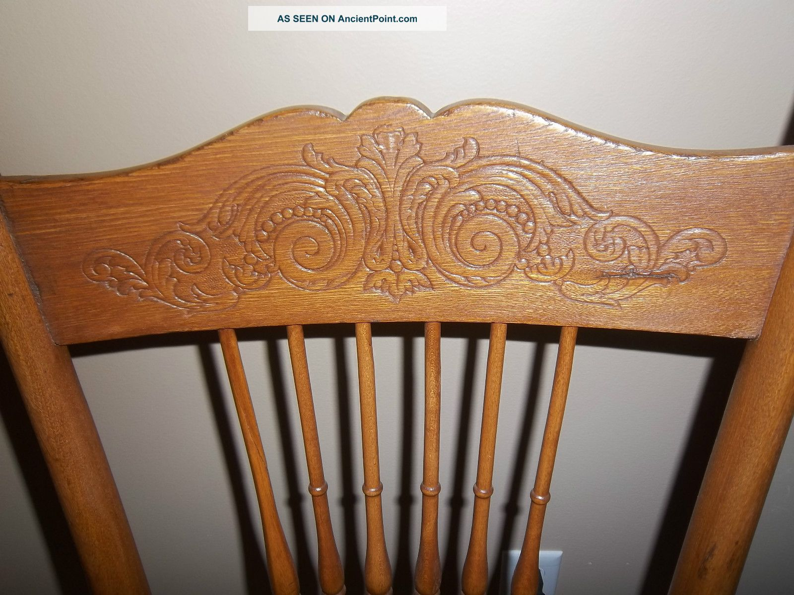 Antique Golden Oak Pressed Back Chair W/ Cane Seat 1900 1950 Photo 1. Full resolution  image, nominally Width 1600 Height 1200 pixels, image with #79431F.
