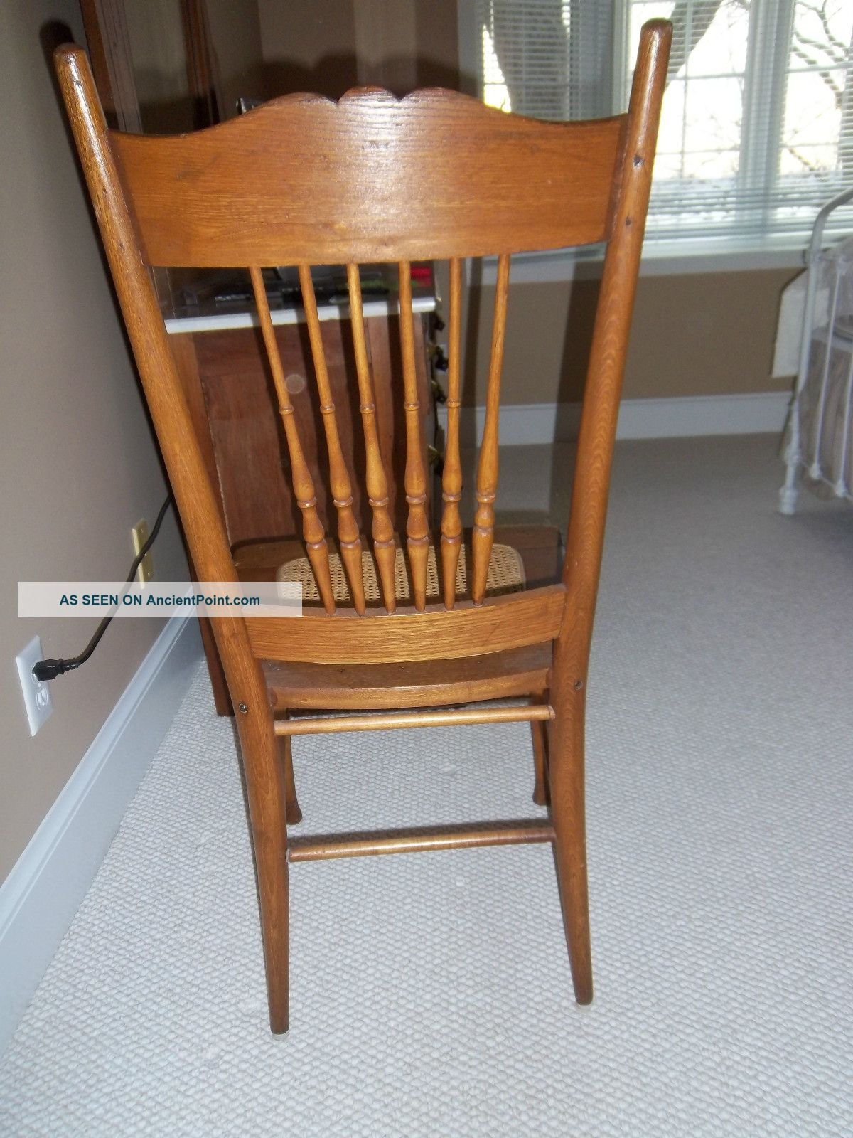 Antique Golden Oak Pressed Back Chair W/ Cane Seat 1900 1950 Photo 3. Full resolution  image, nominally Width 1200 Height 1600 pixels, image with #996132.