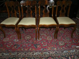 Antique Flame Mahogany Set Of 4 Side Upholstered Dining Chairs photo