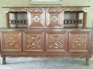 French Renaissance Dining Room Table & Court Cupboard Or Buffet Oak Parquet Tops photo