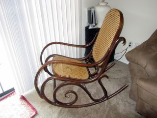 Antique Thonet Style Bentwood Rocker Wooden Rocking Chair Brown And Tan photo