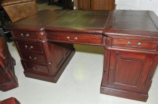 Mahogany Partners Desk Solid Mahogany Leather Top photo