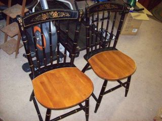 Pair Hitchcock Paint Decorated Black & Maple Seat Spindle Back Dining Side Chair photo