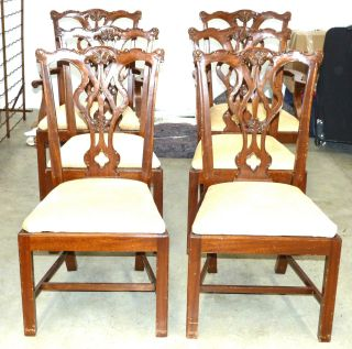 Set Of 6 Chippendale Mahogany Dining Chairs photo