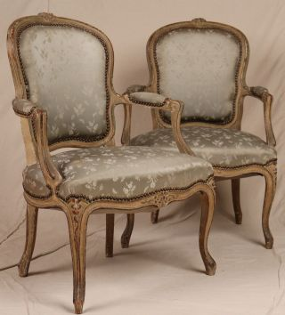 Pair Louis Xv French Antique Painted & Carved Fauteuil Arm Chairs Armchairs photo
