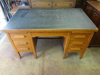 Vintage 1950 ' S Solid Oak Executive Office Desk (pasadena City Hall Desk) photo