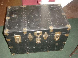 Antique Black Trunk With Handles & Hinged Lid photo