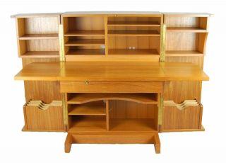 Danish Modern Teak Wooten Folding Desk Office Cabinet photo