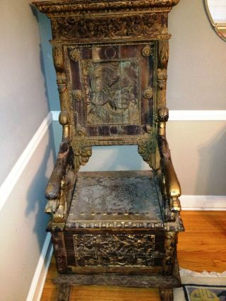 Antique Chair Gothic Style,  Interesting Provenance,  Needs Restoration photo