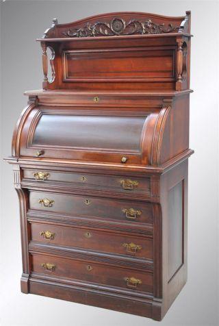 15886 Antique Victorian Ladies ' Cylinder Desk photo