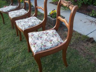 (4) Antique Rose Carved Dining Chairs 1940s Vintage Shabby photo