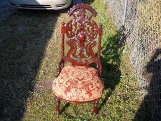 American Rococo Victorian Mahogany Ornately Carved Parlor/side Chair C1870 - 1890 photo