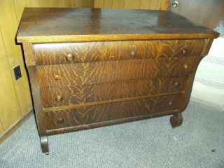 Late 1800 ' S,  Quarter Sawn Oak Empire Style Dresser photo