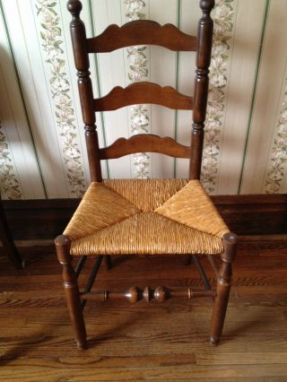 Antique Wood Chair With Cane Seat photo