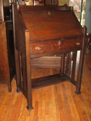 Arts Crafts Secretary Drop Front Small Desk Mission Oak Photo