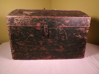Antique Victorian Wooden Trunk C1864 In Green Paint Great Northern Railroad Uk photo