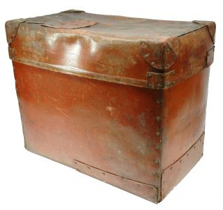 Antique Trunk Box Chest C.  1910 Telescoping Pressed Fiber & Leather 20x11x16 photo