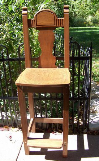 Vintage Tall Youth Chair - - Altar Boy Chair??? - - Solid Oak - - 46