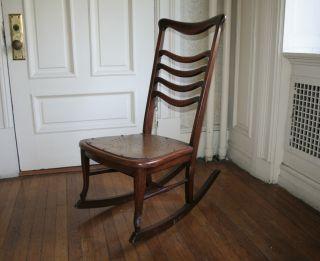 Antique Victorian Solid Mahogany Nursing Rocking Chair Knitting Chair photo
