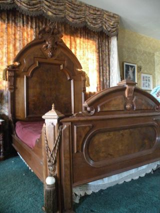 Victorian Antique Bed And Vanity Dresser Carved And Burl Walnut C.  1865 - 1875 photo