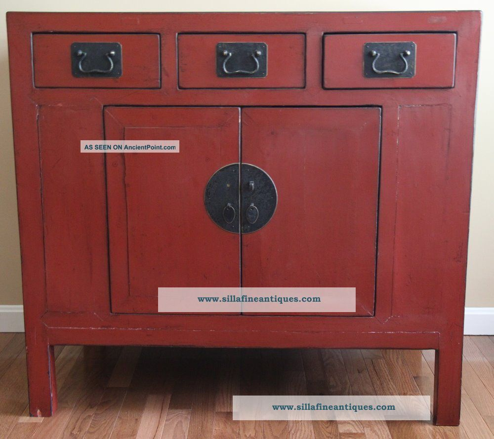 Painted antique furniture images for Antique red kitchen cabinets