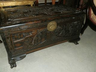 Large Early 20th Century Hand Carved Camphor Chest photo