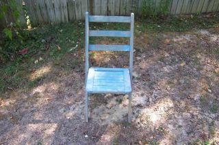 Antique Vintage Primitive Wooden Painted Blue Wood Folding Chair photo
