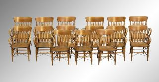 15893 Antique Rare Set Of 15 Victorian Oak Matching Arm Chairs photo