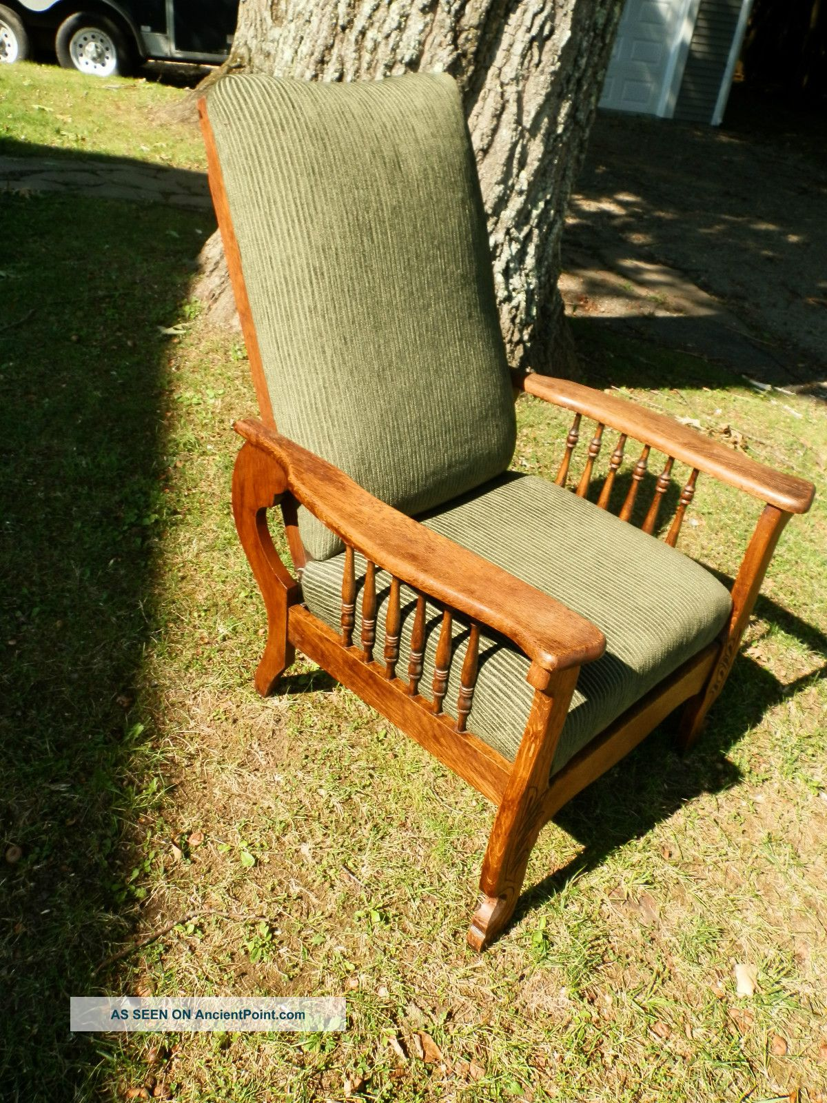 Stunning Antique Quartersawn Oak Morris Chair Recliner W