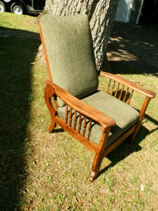 Stunning Antique Quartersawn Oak Morris Chair Recliner W/carved Detail photo