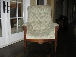 Antique Eastlake Country Style Arm Chair With Fabric Upholstery photo
