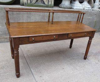Antique Vintage Solid White Oak Wood Desk photo