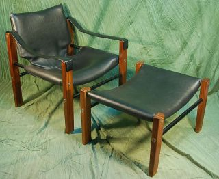 Mid - Century Modern Black Leatherette And Teak Sling Chair With Ottoman photo