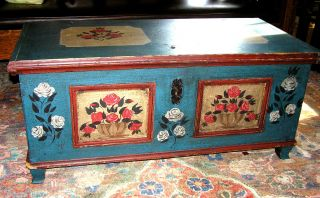19th Century Antique Paint Decorated Pine Dower Chest Dove Tail Construction photo