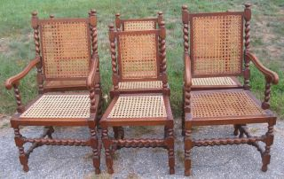 Set Of 6 Vintage Barley Twist Oak Dining Chairs W/ Two Arm Chairs photo