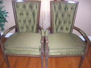 Set Of 2 Vintage / Antique Green Tufted Back Fabric And Wood Side Chairs photo
