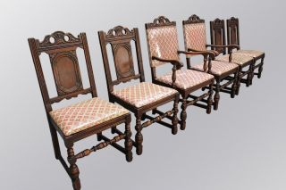15582 Antique Set Of Six Oak Carved Chairs photo